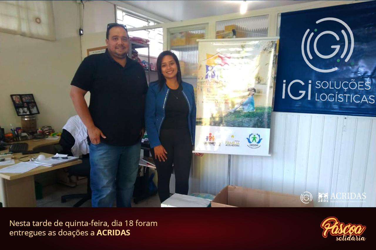 IGI Soluções Logísticas Páscoa Solidária Acridas